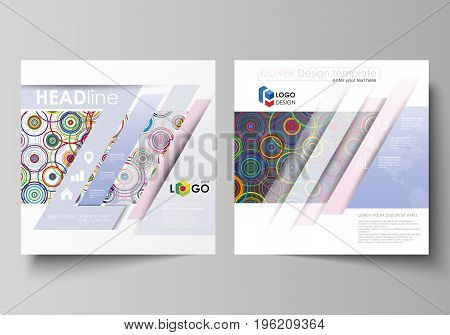 Business templates for square design brochure, magazine, flyer, booklet or annual report. Leaflet cover, abstract flat layout, easy editable vector. Bright color background in minimalist style made from colorful circles.