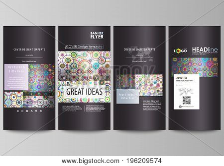 Flyers set, modern banners. Business templates. Cover design template, easy editable abstract vector layouts. Bright color background in minimalist style made from colorful circles
