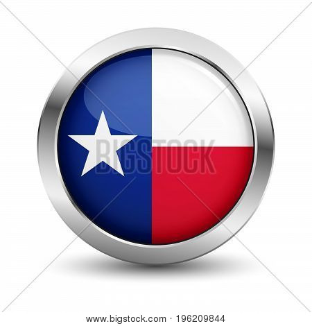 Texas icon silver glossy badge button with Texan flag and shadow vector EPS 10 illustration on white background.