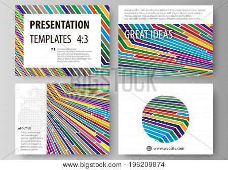 Set of business templates for presentation slides. Easy editable abstract vector layouts in flat design. Bright color lines, colorful style with geometric shapes forming beautiful minimalist background.