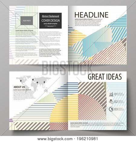 Business templates for square design bi fold brochure, magazine, flyer, booklet or annual report. Leaflet cover, abstract flat layout, easy editable vector. Minimalistic design with lines, geometric shapes forming beautiful background.