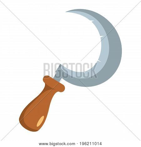 Sickle flat cartoon icon. Hook sickle vector illustration for design and web isolated on white background. Vector object for labels, logos and advertising