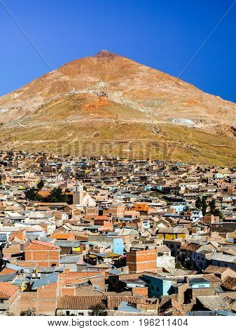 Cerro Rico and rooftops of Potosi city centre, Bolivia, South America.