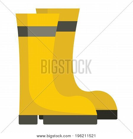 Yellow rubber boots flat cartoon icon. boots vector illustration for design and web isolated on white background. Yellow rubber boots vector object for labels, logos and advertising