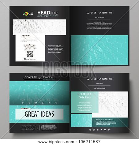 Business templates for square design bi fold brochure, magazine, flyer, booklet or annual report. Leaflet cover, abstract flat layout, easy editable vector. Chemistry pattern, hexagonal molecule structure on blue. Medicine, science and technology concept.