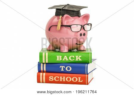 Back to school concept. Piggy bank on books 3D rendering