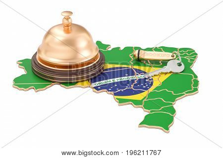 Brazil booking concept. Brazilian flag with hotel key and reception bell 3D rendering