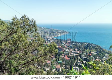 View of the Black Sea and resort from the mountain-cat. South of Crimea