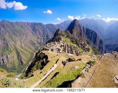 Top view of the world's heritage site, Machu Picchu in Peru