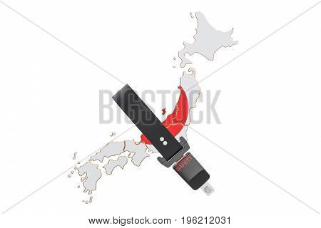 Japanese map with safety belt. Security and protect or insurance concept 3D rendering