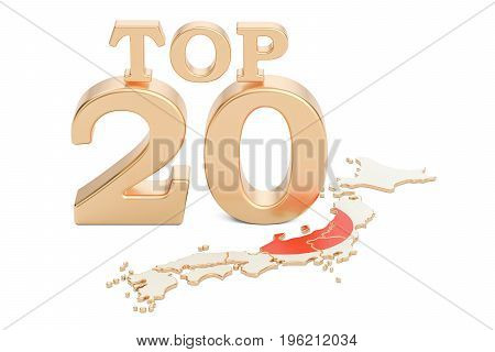 Japanese Top 20 concept 3D rendering isolated on white background