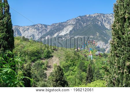 Ferris wheel in Yalta park on the background of the Crimean mountains and cypresses