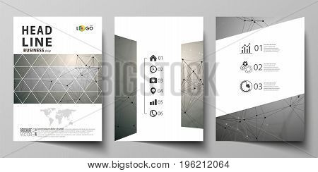 Business templates for brochure, magazine, flyer, booklet or annual report. Cover design template, easy editable vector, abstract flat layout in A4 size. Chemistry pattern, molecule structure on gray background. Science and technology concept.