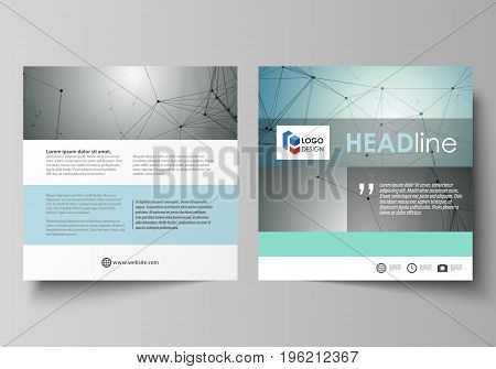 Business templates for square design brochure, magazine, flyer, booklet or annual report. Leaflet cover, abstract flat layout, easy editable vector. Geometric background, connected line and dots. Molecular structure. Scientific, medical, technology concep