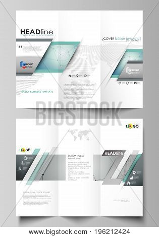 Tri-fold brochure business templates on both sides. Easy editable abstract vector layout in flat design. Geometric background, connected line and dots. Molecular structure. Scientific, medical, technology concept.