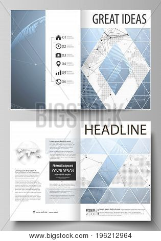 The vector illustration of the editable layout of two A4 format modern cover mockups design templates for brochure, magazine, flyer. World globe on blue. Global network connections, lines and dots