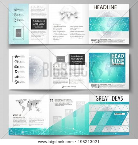 The minimalistic vector illustration of the editable layout. Three creative covers design templates for square brochure or flyer. Chemistry pattern. Molecule structure. Medical, science background