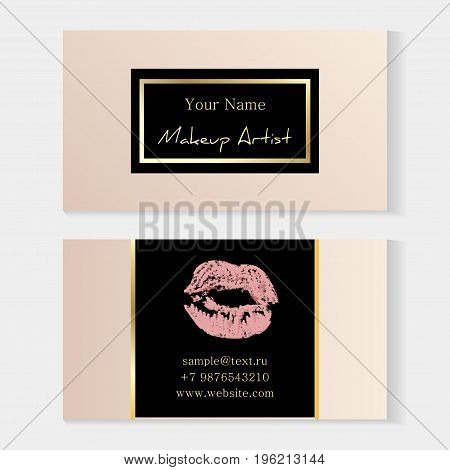 Makeup Artist Stylish Business Card. Artistic Templates With Trace Of A Light Pink Lipstick, Kiss On