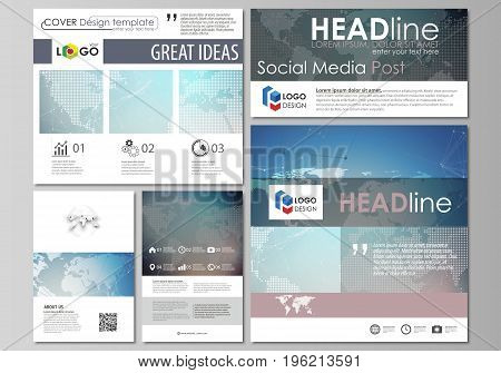 The minimalistic abstract vector illustration of the editable layout of modern social media post design templates in popular formats. Polygonal geometric linear texture. Global network, dig data concept.