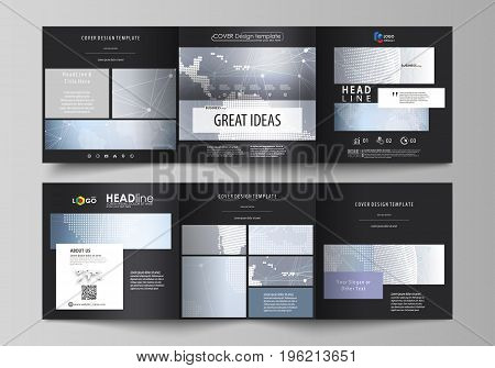 The black colored minimalistic vector illustration of the editable layout. Two creative covers design templates for square brochure. Abstract futuristic network shapes. High tech background