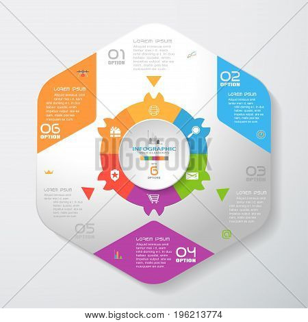 Vector infographic of gradient gray convex hexagonal form with color corners color hexagon ring triangles and concave circle cut from paper with shadows and icons on the gradient gray background.