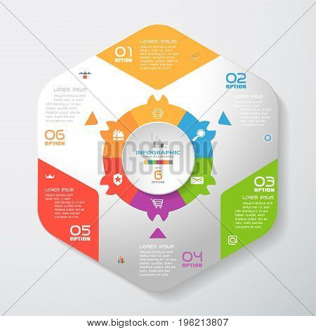 Vector infographic of gradient gray convex hexagonal form with color corners color hexagon ring and concave circle cut from paper with shadows text and icons on the gradient gray background.