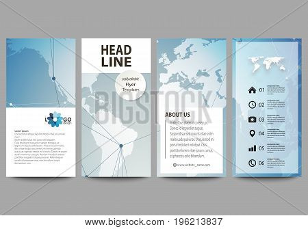 The minimalistic abstract vector illustration of the editable layout of four modern vertical banners, flyers design business templates. Scientific medical DNA research. Science or medical concept