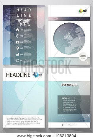 The vector illustration of the editable layout of four A4 format covers with the circle design templates for brochure, magazine, flyer. Molecule structure, connecting lines and dots. Technology concept