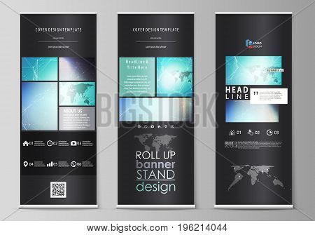 The black colored vector illustration of the editable layout of roll up banner stands, vertical flyers, flags design business templates. Molecule structure, connecting lines and dots. Technology concept.