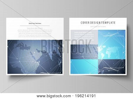 The minimalistic vector illustration of the editable layout of two square format covers design templates for brochure, flyer, magazine. Abstract global design. Chemistry pattern, molecule structure