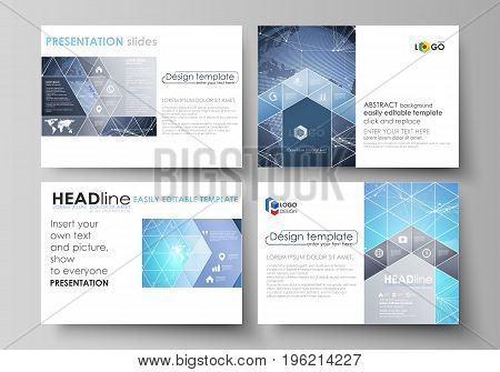 The minimalistic abstract vector illustration of the editable layout of the presentation slides design business templates. Abstract global design. Chemistry pattern, molecule structure
