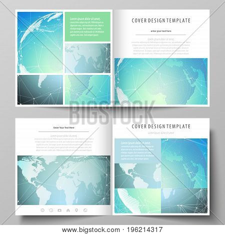 The minimalistic vector illustration of the editable layout of two covers templates for square design brochure, flyer, booklet. Chemistry pattern, molecule structure, geometric design background