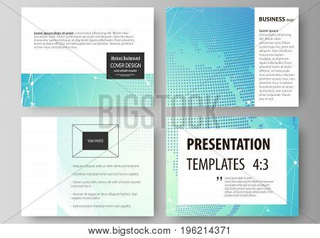 The minimalistic abstract vector illustration of the editable layout of the presentation slides design business templates. Chemistry pattern, molecule structure, geometric design background
