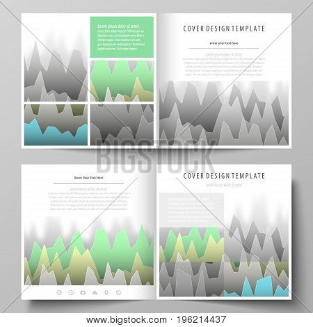 The minimalistic vector illustration of the editable layout of two covers templates for square design brochure, flyer, booklet. Rows of colored diagram with peaks of different height