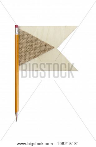 Sharp Pencil With Wood And Burlap Decorative Flags At End
