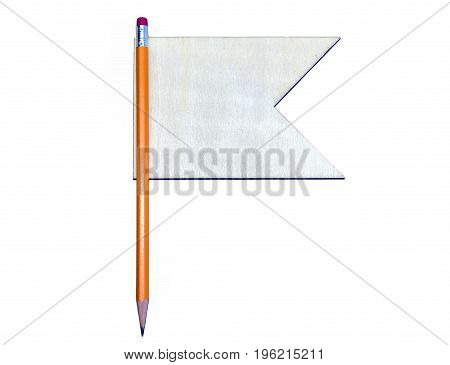 Sharp Pencil With Blank Wooden Flag, Space For Text