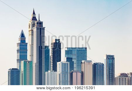 Skyline Of New Business Bay District In Dubai At Sunrise UAE