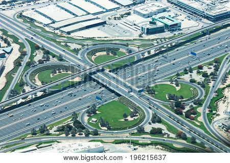 Busy Intersection Road With Traffic In Dubai UAE