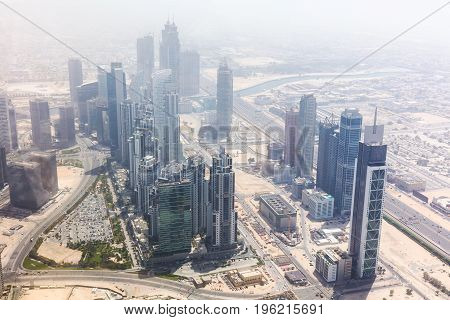 High Angle View Of Modern Skyscrapers In Dubai UAE