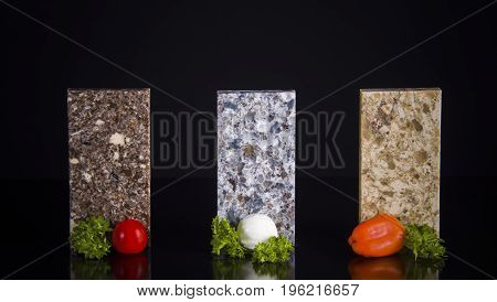 Countertops. Granite Counter Top. Kitchen Countertop. Stone Counter. Colorful Countertop. Countertops concept.