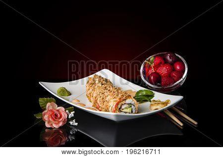 Delicious sushi. Japanese sushi. Sushi rolls, Chirashi sushi. Temaki Sushi. Dragon rolls sushi. Nare Sushi. Sushi made of shrimps.