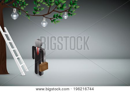 Business Creative and Idea Concept : Business man climbing white ladder to pick up light bulb hanging on tree branches. (3D Illustration)