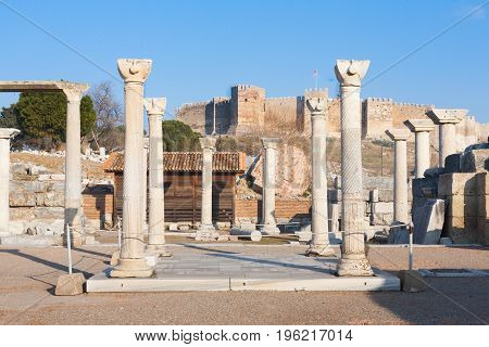 Small Roman Square With Stone Columns Row In Ephesus Archaeological Site In Turkey