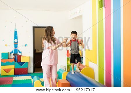 Toddler Working On His Balance