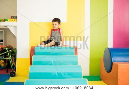 Little Boy In An Obstacle Course