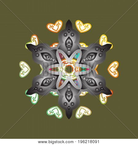 Snowflake Vector illustration. Mandala isolated on dark green background. Vector illustration. Snowflake Icon. Winter snowflake.