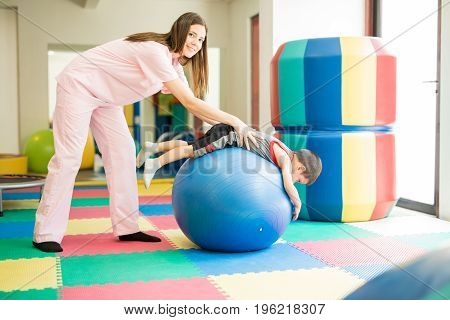 Doing Some Physical Therapy On A Child
