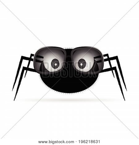 spider with sunglasses art illustration on white