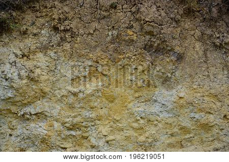 Texture Of A Wall Of Solid Yellow And Brown Sand In A Sandy Quarry