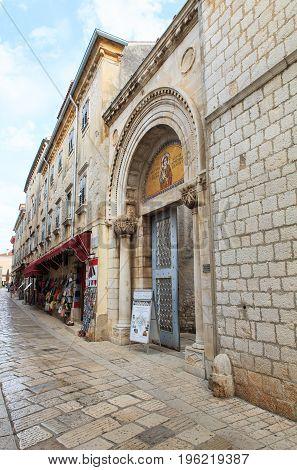 Entrance portal of the Euphrasian Basilica in Porec Istria. Croatia